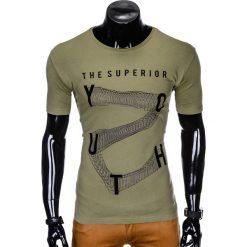 T-SHIRT MĘSKI Z NADRUKIEM S964 - KHAKI. Brązowe t-shirty męskie z nadrukiem Ombre Clothing, m, z bawełny. Za 29,00 zł.