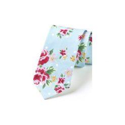 Krawat męski ROSES. Niebieskie krawaty męskie HisOutfit, z materiału. Za 129,00 zł.