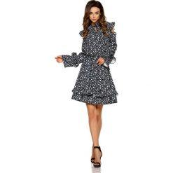 Wzorzysta Sukienka w Kropki z Falbankami Typu Cold Shoulder. Białe sukienki na komunię marki Molly.pl, na co dzień, l, w kolorowe wzory, z tkaniny, z falbankami. Za 208,90 zł.
