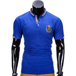 KOSZULKA MĘSKA POLO Z NADRUKIEM S849 - NIEBIESKA. Czarne koszulki polo marki Ombre Clothing, m, z bawełny, z kapturem. Za 29,00 zł.