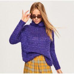 Fioletowy sweter - Fioletowy. Fioletowe swetry klasyczne damskie marki DOMYOS, l, z bawełny. Za 119,99 zł.