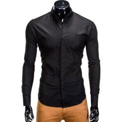 KOSZULA MĘSKA ELEGANCKA Z DŁUGIM RĘKAWEM K307 - CZARNA. Czarne koszule męskie na spinki marki Ombre Clothing, m, z bawełny, ze stójką, z długim rękawem. Za 59,00 zł.