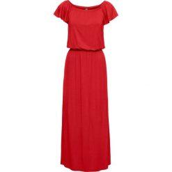"""Sukienka shirtowa z dekoltem """"carmen"""" bonprix truskawkowy. Czerwone sukienki z falbanami bonprix, z materiału, z kołnierzem typu carmen. Za 89,99 zł."""