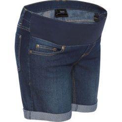 """Szorty ciążowe dżinsowe z paskiem pod brzuch bonprix ciemnoniebieski """"stone"""". Niebieskie spodnie ciążowe marki bonprix, w paski, z dżerseju. Za 89,99 zł."""