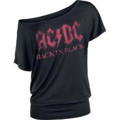 AC/DC Back in Black Koszulka damska czarny. Czarne bluzki na imprezę AC/DC, xl, z nadrukiem, z dekoltem w łódkę. Za 121,90 zł.