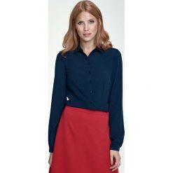 Bluzki damskie: Granatowa Klasyczna Bluzka Koszulowa