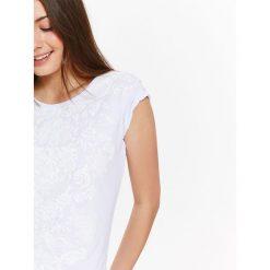 T-shirty damskie: T-SHIRT DAMSKI Z DLIKATNYM BIAŁYM NADRUKIEM