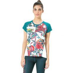 Koszulka funkcyjna w kolorze biało-turkusowym. Białe bluzki sportowe damskie Desigual Sport, xs, z materiału. W wyprzedaży za 121,95 zł.