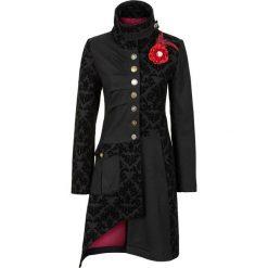 Płaszcz bonprix czarny. Czarne płaszcze damskie pastelowe bonprix, z aplikacjami, z materiału. Za 319,99 zł.