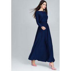 Granatowa  Zwiewna Sukienka Maxi z Podkreślona Talią. Niebieskie długie sukienki marki Molly.pl, na co dzień, l, z elastanu, z klasycznym kołnierzykiem, oversize. Za 149,90 zł.