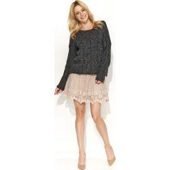 Swetry damskie: Czarny Sweter Melanżowy z Warkoczami
