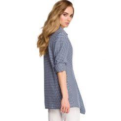 JADE Luźna koszula w krateczkę - granatowa. Niebieskie koszule damskie w kratkę marki Stylove, s, z jeansu, biznesowe. Za 136,99 zł.
