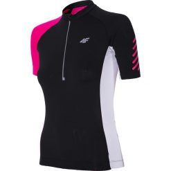 Koszulka rowerowa damska RKD152 - głęboka czerń. Czarne bluzki sportowe damskie 4f, m, z elastanu. Za 149,99 zł.