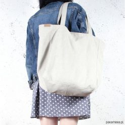 Lazy bag torba beżowa na zamek / vegan / eco. Brązowe torebki klasyczne damskie Pakamera, w paski. Za 175,00 zł.