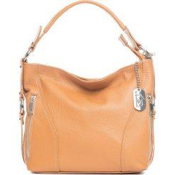 Torebki klasyczne damskie: Skórzana torebka w kolorze jasnobrązowym – 32 x 25 x 10 cm