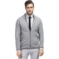 Sweter TOMASSO SWPR000124. Niebieskie swetry rozpinane męskie marki bonprix, m, z nadrukiem, z klasycznym kołnierzykiem, z długim rękawem. Za 229,00 zł.