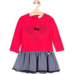 Sukienka. Czerwone sukienki dziewczęce z falbanami marki MOUSE, z aplikacjami, z bawełny, z długim rękawem, długie. Za 54,90 zł.
