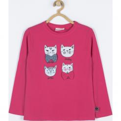 Koszulka. Czerwone bluzki dziewczęce bawełniane marki HAPPY TIME, z aplikacjami, z długim rękawem. Za 39,90 zł.