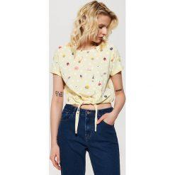 Bluzki, topy, tuniki: T-shirt z wiązaniem – Żółty