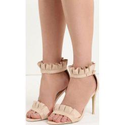 Beżowe Sandały Amazing. Brązowe sandały damskie marki Born2be, z materiału, na wysokim obcasie, na obcasie. Za 89,99 zł.