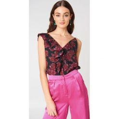Bluzki, topy, tuniki: NA-KD Trend Asymetryczna koszulka z falbanką – Purple,Multicolor