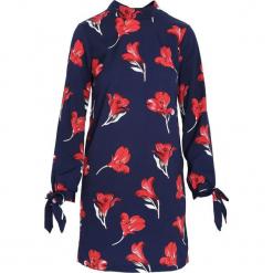 Granatowa Sukienka Quickly. Niebieskie sukienki Born2be, l, w kwiaty, z tkaniny, z długim rękawem, mini, oversize. Za 69,99 zł.