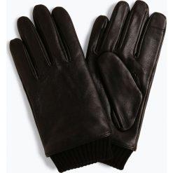BOSS - Skórzane rękawiczki męskie – Hewen-TT, czarny. Czarne rękawiczki męskie Boss, prążkowane. Za 429,95 zł.