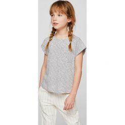 Mango Kids - Top dziecięcy Rayasa 104-164 cm. Szare bluzki dziewczęce bawełniane Mango Kids, z okrągłym kołnierzem. W wyprzedaży za 19,90 zł.