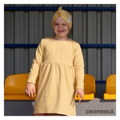 Sukienka 3D honey. Pomarańczowe sukienki dziewczęce z falbanami Pakamera, melanż. Za 66,00 zł.