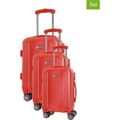 Zestaw walizek w kolorze koralowym - 3 szt. Czerwone walizki marki Platinium, z materiału. W wyprzedaży za 539,95 zł.