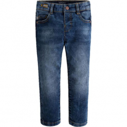 Spodnie w kolorze granatowym. Różowe spodnie chłopięce marki Mayoral, z bawełny, z okrągłym kołnierzem. W wyprzedaży za 94,95 zł.