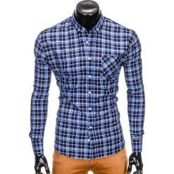 KOSZULA MĘSKA W KRATĘ Z DŁUGIM RĘKAWEM K396 - GRANATOWY/NIEBIESKI. Niebieskie koszule męskie na spinki Ombre Clothing, m, z długim rękawem. Za 49,00 zł.