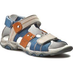 Sandały męskie skórzane: Sandały FALCON – 3930 Niebieski/J. Szary 69/339/147