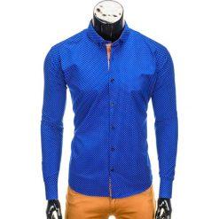 KOSZULA MĘSKA ELEGANCKA Z DŁUGIM RĘKAWEM K326 - NIEBIESKA. Niebieskie koszule męskie na spinki Ombre Clothing, m, z bawełny, z kontrastowym kołnierzykiem, z długim rękawem. Za 59,00 zł.