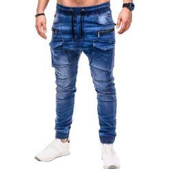 Spodnie męskie: SPODNIE MĘSKIE JEANSOWE JOGGERY P411 – NIEBIESKIE
