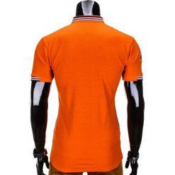 KOSZULKA MĘSKA POLO Z NADRUKIEM S849 - POMARAŃCZOWA. Czarne koszulki polo marki Ombre Clothing, m, z bawełny, z kapturem. Za 29,00 zł.
