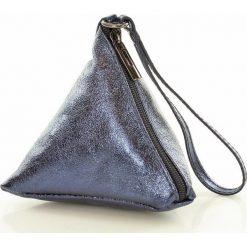 Torebki klasyczne damskie: Piramidka skórzana torebka wizytowa SIENA granatowy
