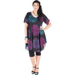 Odzież damska: Sukienka w kolorze różowo-niebiesko-czarnym