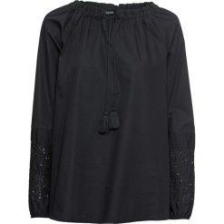 Bluzka z ażurowym haftem: MUST HAVE bonprix czarny. Czarne bluzki ażurowe bonprix. Za 79,99 zł.