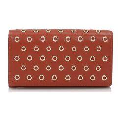Portfele damskie: Skórzany portfel w kolorze ciemnopomarańczowym - (S)15 x (W)9 cm