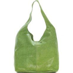Torebki klasyczne damskie: Skórzana torebka w kolorze zielonym – 30 x 35 x 15 cm