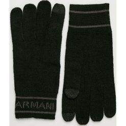 Armani Exchange - Rękawiczki. Czarne rękawiczki męskie marki Armani Exchange, l, z materiału, z kapturem. Za 219,90 zł.