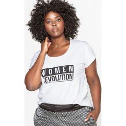Koszulka z napisem. Szare bluzki z odkrytymi ramionami marki La Redoute Collections, m, z bawełny, z kapturem. Za 102,86 zł.