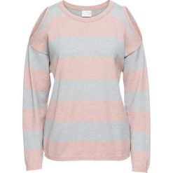 Swetry klasyczne damskie: Sweter w paski z wycięciami bonprix stary jasnoróżowy – szary melanż