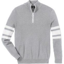 Sweter ze stójką z zamkiem Regular Fit bonprix jasnoszary melanż. Szare golfy męskie marki bonprix, l, melanż. Za 79,99 zł.