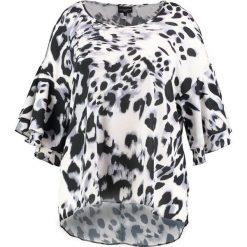 Topy damskie: Live Unlimited London ANIMAL RUFFLE SLEEVE BOXY TOP  Bluzka black