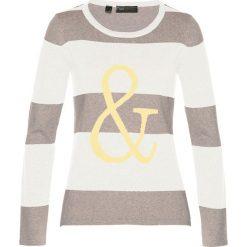 Swetry klasyczne damskie: Sweter bonprix kamienisty melanż – biel wełny – limonka