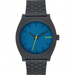 """Zegarek kwarcowy """"Time Teller"""" w kolorze niebiesko-antracytowym. Szare, analogowe zegarki męskie Nixon, ze stali. W wyprzedaży za 159,95 zł."""