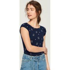 T-shirt z nadrukiem all over - Granatowy. Niebieskie t-shirty damskie marki Sinsay, l, z nadrukiem. Za 14,99 zł.