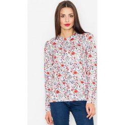 Bluzy damskie: Ecru Klasyczna Bluza w Kolorowe Kwiaty